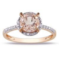 7.0mm Morganite and Diamond Accent Ring in 10K Rose Gold