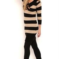 Cowl Buckle Neck Sweater Knit Tunic Dress with Three Quarter Sleeves