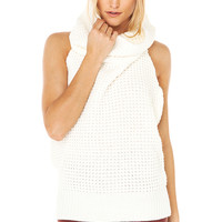 Knit Turtleneck Vest in Off White