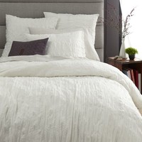 Crinkle Duvet Cover + Shams - Stone White
