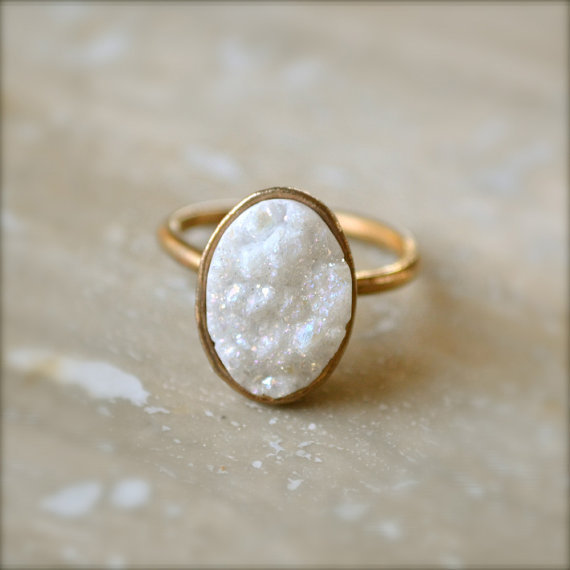 White Oval Druzy Summer Gold Ring