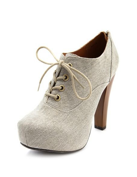 Canvas Lace-Up Booties: Charlotte Russe