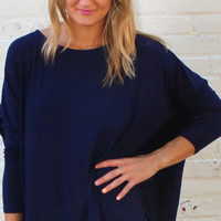 Long Sleeved Solid Comfy Tunic Top - Navy Blue