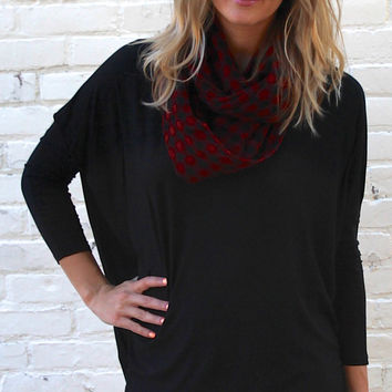 Long Sleeved Solid Comfy Tunic Top - Black – H.C.B.