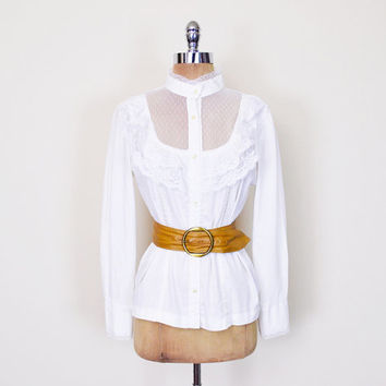 Gunne Sax Style White Victorian Blouse Victorian Collar Blouse Sheer Lace Ruffle Collar Lace Collar Lace Blouse Prairie Blouse 70s L Large