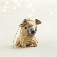 Metallic Leatherette Gold Bulldog Dog Ornament