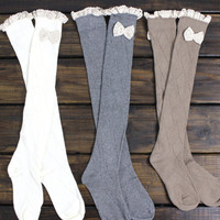 FLASH SALE: Womens Boot Socks, Lace Boot Socks, Knee High, Boot Socks, Legwarmers, Socks, Knitted Socks, Bow Knit Socks, Boot Toppers