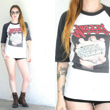 Vintage 90s WEEZER Band White Distressed BASEBALL Raglan Tee T Shirt // Hipster Bohemian Indie // XS Extra Small / Small