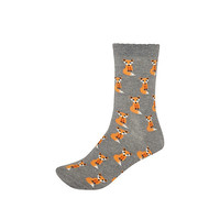 River Island Womens Grey fox print ankle socks