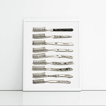 Bathroom Art Set Of Toothbrushes - Cream, White And Black - Restroom Art Print - Antique Toothbrush Art - Wall Hanging