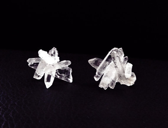 Quartz crystal earrings, bohemian earrings, crystal stud earrings, boho wedding earrings, gemstone earrings