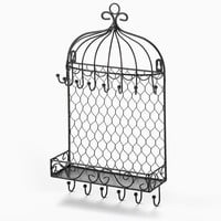 Black Bird Cage Wall Hanging Jewelry Organizer