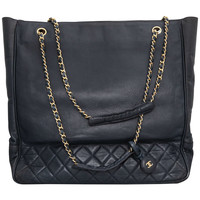 Chanel Navy Tote Bag With CC And Quilted Details