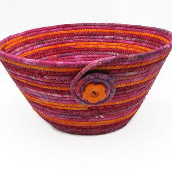 Hot Pink and Orange Coiled Fabric Bowl, Basket