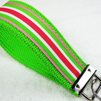 Keychain Wristlet Keyfob Keylette Key Ring - Stripes Grosgrain Ribbon Webbing Green Pink Party Favor Gift - Porte-cls - Ready to ship