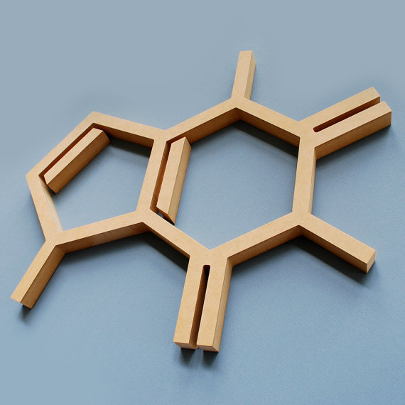 Wood Caffeine Molecule Wall Hanging Chemistry Geek Coffee Addict