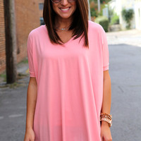 Peach V-Neck Piko {TUNIC}