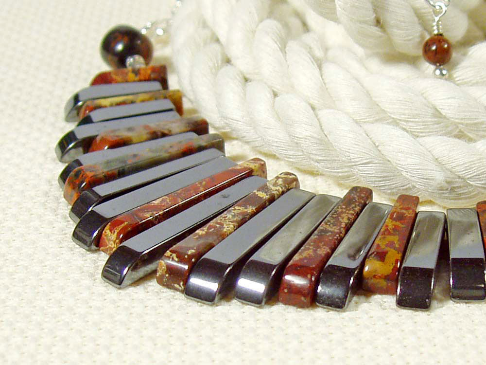 Egyptian Fan Necklace, Poppy Jasper, Haematite, Sterling Silver