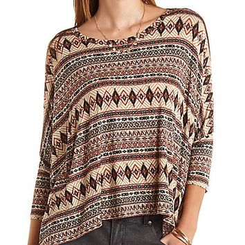 Oversized Aztec Print Dolman Top by Charlotte Russe - Multi