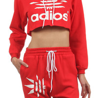 ADIOS Mary Jane Cropped Hoodie in Red