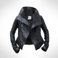 Womens Black Leather Biker Jacket by J.O.D UK6