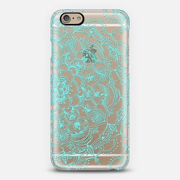 Embossed Turquoise Lace on Crystal Transparent iPhone 6 case by Micklyn Le Feuvre | Casetify