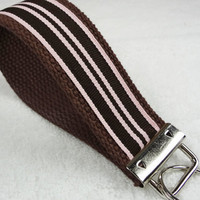 Keychain Wristlet Keyfob Keylette Key Ring - Stripes Striped Grosgrain Ribbon Webbing Brown Pink Party Favor - Porte-cls - Ready to ship