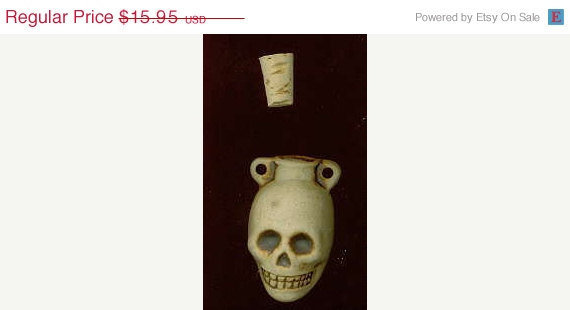ON SALE Vintage Glazed Ceramic Skull Poison Bottle 40 mm with cork stopper