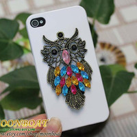 Antique Brass Cute Owl White Hard Case Cover for iPhone 4 Case, iPhone 4s Case, iPhone 4 Hard Case, iPhone Case MB595
