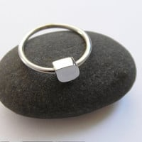 Delicate Ring - Sterling Silver Cube Ring