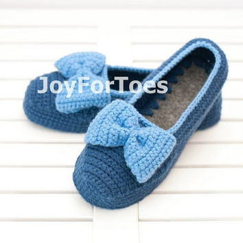 Crocheted house slippers Crochet Slippers Custom Order Blue Bow Slippers for the home Woman
