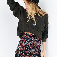 Ecote Nattie Embroidered Mini Skirt- Black Multi