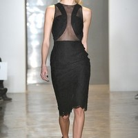 Cushnie et Ochs lace with chiffon and georgette dress black