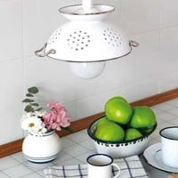 DIY Pendant Lamp Of Enameled Colander | Shelterness