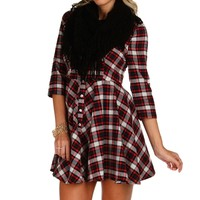 Red Miss Jack Flannel Skater Dress