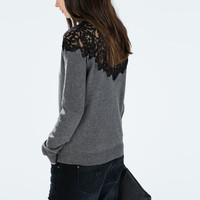 Lace front and back sweater