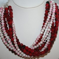 Cranberry and White Mottled Glass 8 Strand Big Bold Statement Necklace