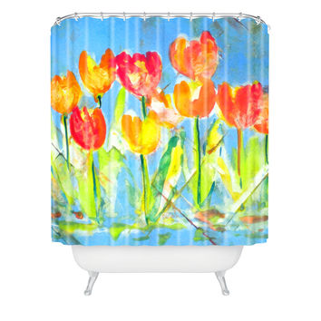 Laura Trevey Spring Tulips Shower Curtain