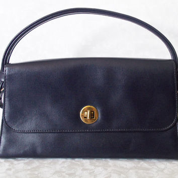 Handbag, Women's Handbag, Ladies Handbag, St Michaels Handbag, Marks and Spencer Handbag, Navy Bag,Faux Leather - 1970s
