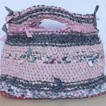 Rag Crochet Boho Shabby Chic Unique Handbag; Purse Pink Charcoal Gray Free Shipping in US