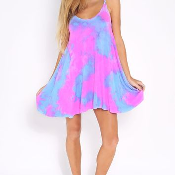 Future Music Dress Pink - pink, purple and blue tie-dye dress