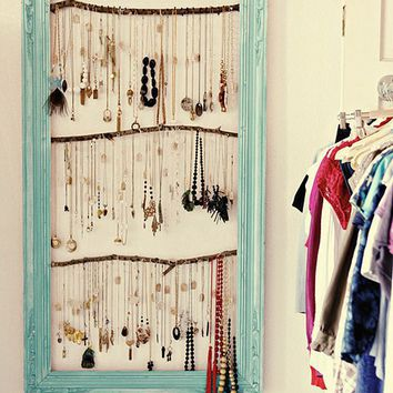 Framed Vintage Necklace Wall Holder | Shelterness