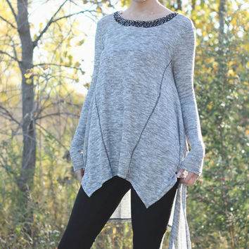 Gray tunic with studded neck detail | Posh Boutique