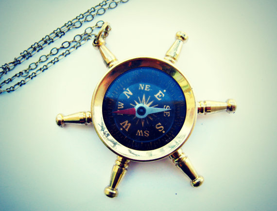 ship wheel compass necklace