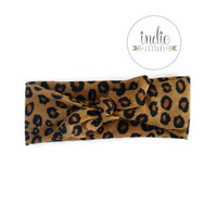 Leopard Cheetah Knotted Bow Headband / Leopard Knot Tied Headwraps / Knotted Turban / Newborn Baby Girl Kids Women Children Adult Photo prop