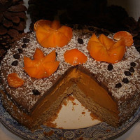 Vegan Apricot Pumpkin cheesecake and dark chocolate, love, animal free cruelty,no eggs,no dairy.
