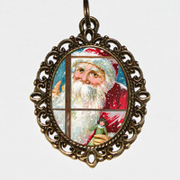 Santa Claus Window Necklace, Christmas Jewelry, Oval Pendant