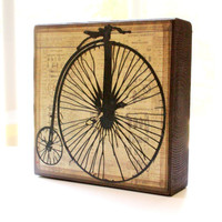 5x5 Wood Art Block Penny Farthing antique bicycle vintage distressed block free shipping