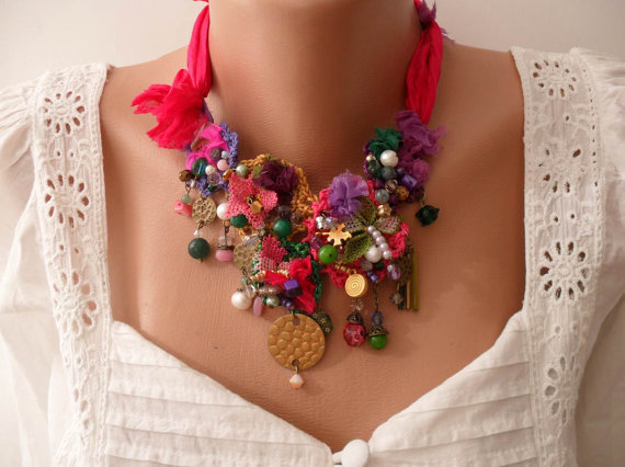 Colorful Necklace - Handmade Design - summer colors