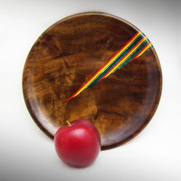 Black Walnut Wood Plate with Rainbow Birch Inlay